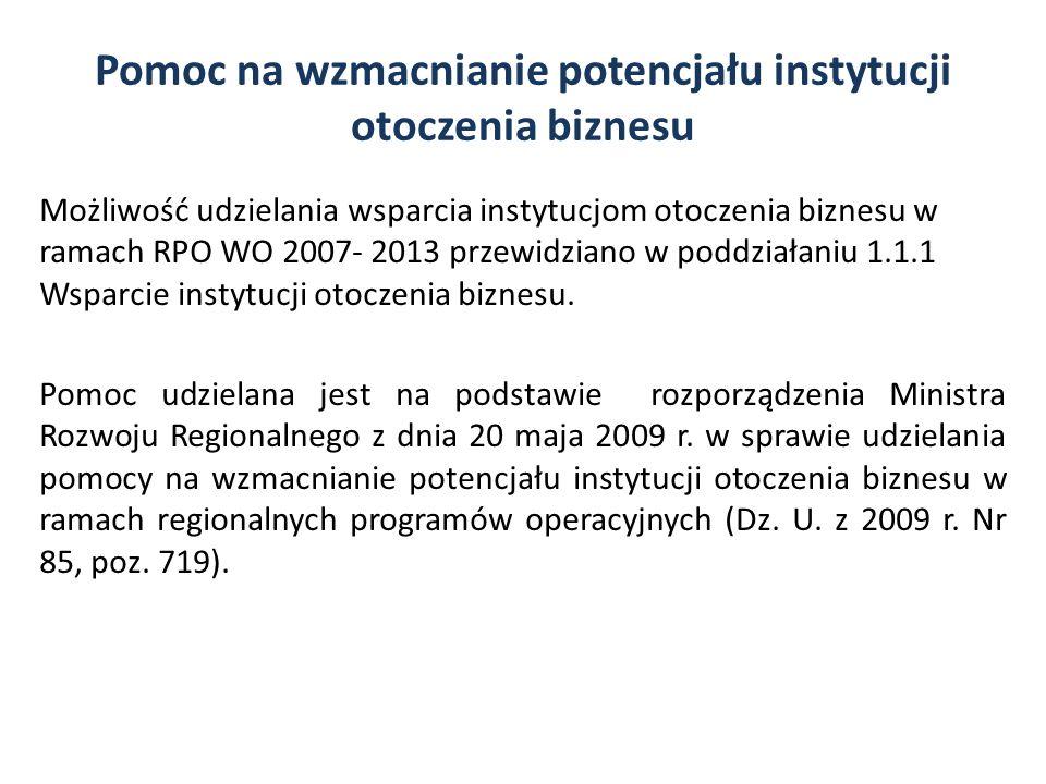 Pomoc na wzmacnianie potencjału instytucji otoczenia biznesu Możliwość udzielania wsparcia instytucjom otoczenia biznesu w ramach RPO WO 2007- 2013 pr