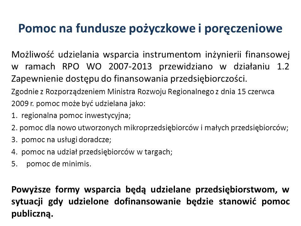 Pomoc na fundusze pożyczkowe i poręczeniowe Możliwość udzielania wsparcia instrumentom inżynierii finansowej w ramach RPO WO 2007-2013 przewidziano w