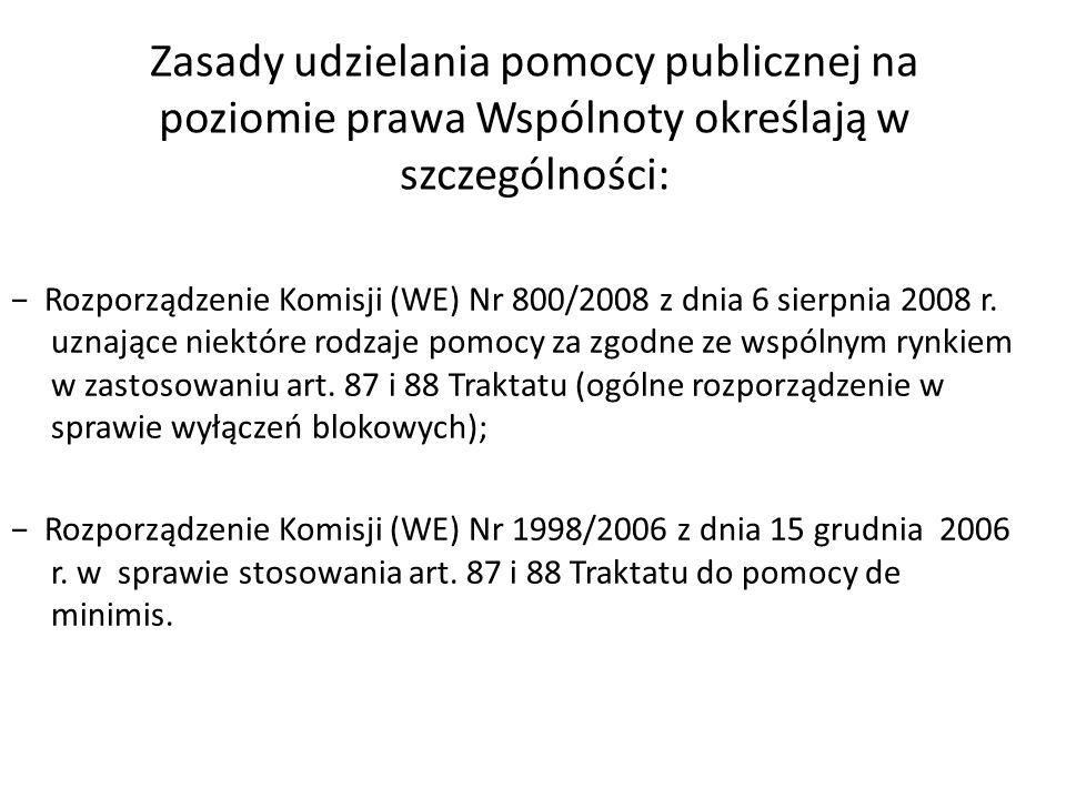 Zasady udzielania pomocy publicznej na poziomie prawa Wspólnoty określają w szczególności: Rozporządzenie Komisji (WE) Nr 800/2008 z dnia 6 sierpnia 2