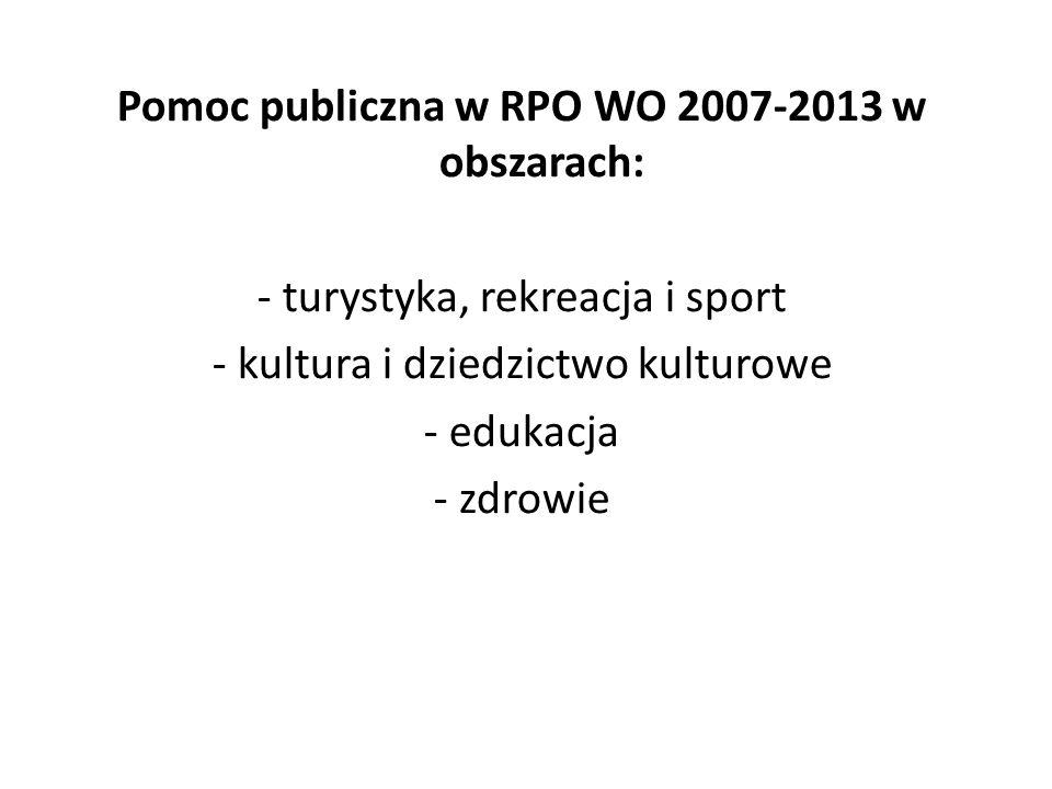 Pomoc publiczna w RPO WO 2007-2013 w obszarach: - turystyka, rekreacja i sport - kultura i dziedzictwo kulturowe - edukacja - zdrowie