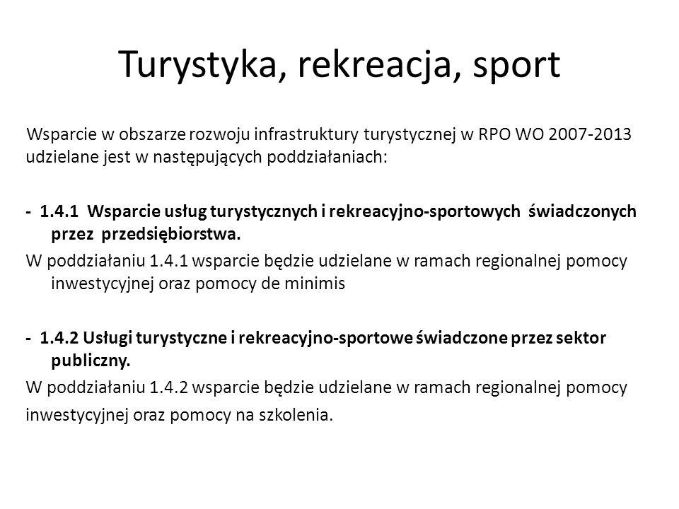 Turystyka, rekreacja, sport Wsparcie w obszarze rozwoju infrastruktury turystycznej w RPO WO 2007-2013 udzielane jest w następujących poddziałaniach: