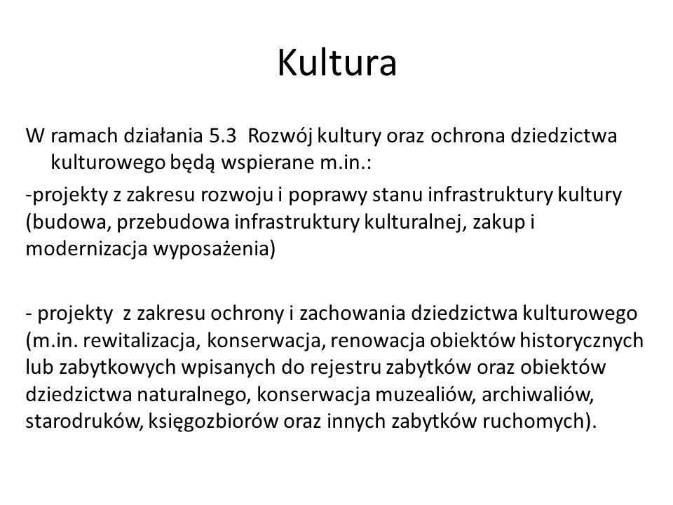 Kultura W ramach działania 5.3 Rozwój kultury oraz ochrona dziedzictwa kulturowego będą wspierane m.in.: -projekty z zakresu rozwoju i poprawy stanu i