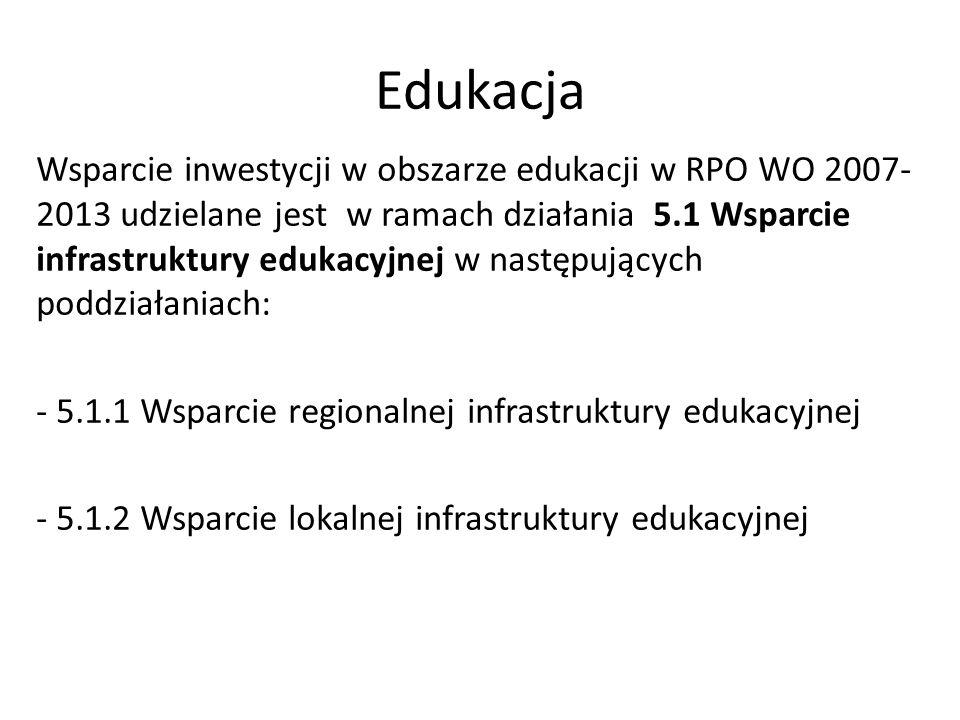 Edukacja Wsparcie inwestycji w obszarze edukacji w RPO WO 2007- 2013 udzielane jest w ramach działania 5.1 Wsparcie infrastruktury edukacyjnej w nastę