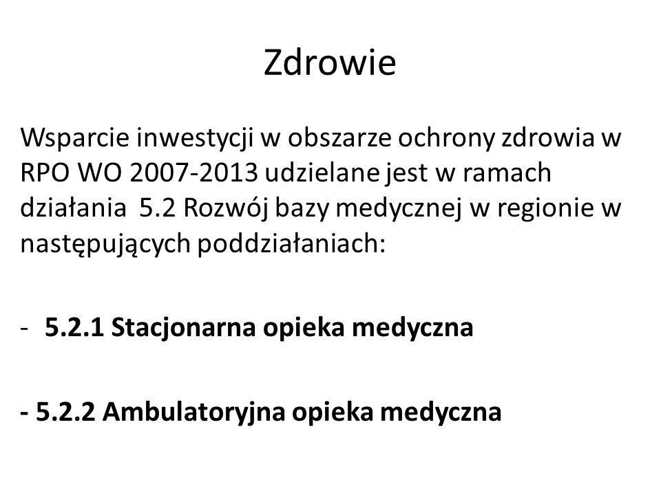 Zdrowie Wsparcie inwestycji w obszarze ochrony zdrowia w RPO WO 2007-2013 udzielane jest w ramach działania 5.2 Rozwój bazy medycznej w regionie w nas