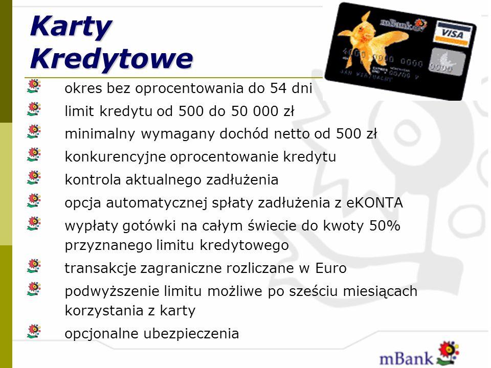 Karty Kredytowe okres bez oprocentowania do 54 dni limit kredytu od 500 do 50 000 zł minimalny wymagany dochód netto od 500 zł konkurencyjne oprocento
