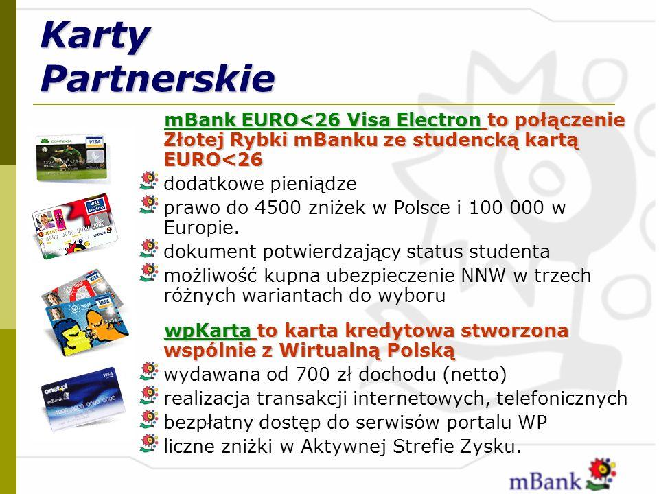 Karty Partnerskie mBank EURO<26 Visa Electron to połączenie Złotej Rybki mBanku ze studencką kartą EURO<26 dodatkowe pieniądze prawo do 4500 zniżek w
