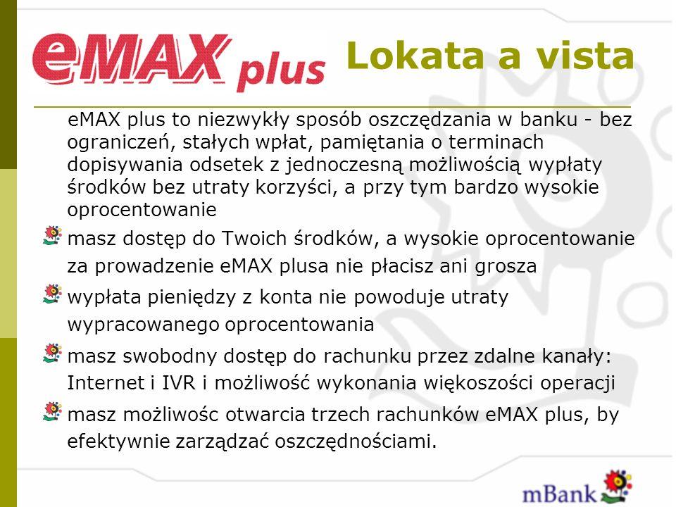 Lokata a vista eMAX plus to niezwykły sposób oszczędzania w banku - bez ograniczeń, stałych wpłat, pamiętania o terminach dopisywania odsetek z jednoc