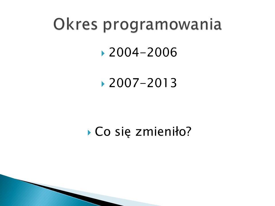 2004-2006 2007-2013 Co się zmieniło