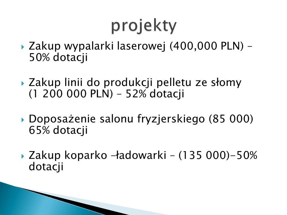 Zakup wypalarki laserowej (400,000 PLN) – 50% dotacji Zakup linii do produkcji pelletu ze słomy (1 200 000 PLN) – 52% dotacji Doposażenie salonu fryzjerskiego (85 000) 65% dotacji Zakup koparko –ładowarki – (135 000)-50% dotacji