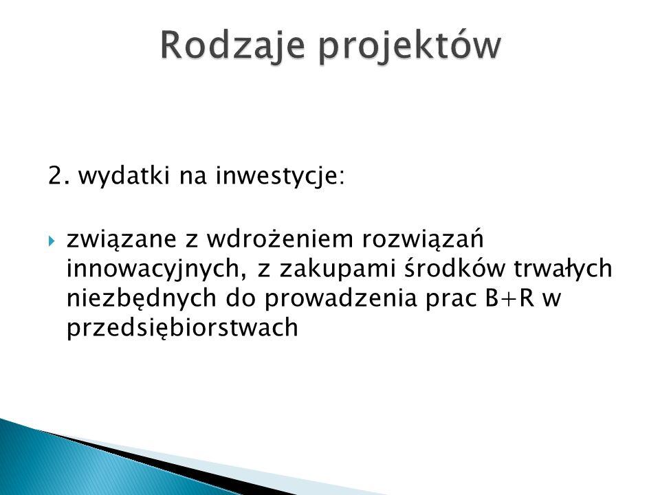 2. wydatki na inwestycje: związane z wdrożeniem rozwiązań innowacyjnych, z zakupami środków trwałych niezbędnych do prowadzenia prac B+R w przedsiębio