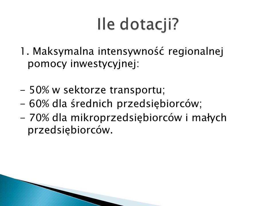 1. Maksymalna intensywność regionalnej pomocy inwestycyjnej: - 50% w sektorze transportu; - 60% dla średnich przedsiębiorców; - 70% dla mikroprzedsięb