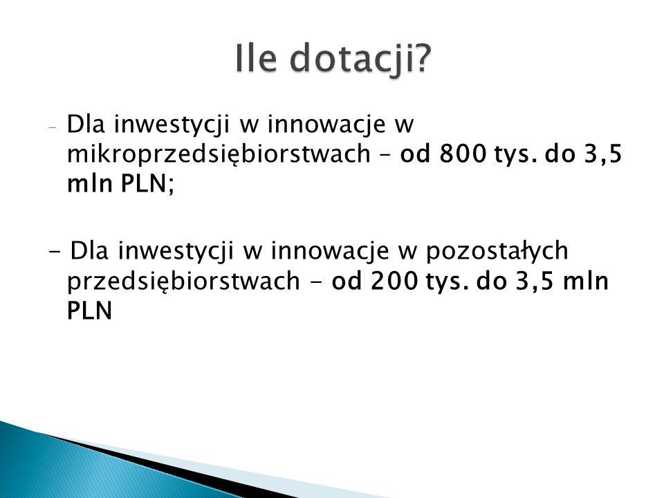 - Dla inwestycji w innowacje w mikroprzedsiębiorstwach – od 800 tys.