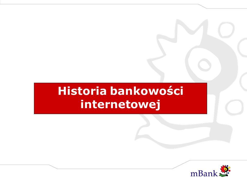 Kilka faktów… Rozwój bankowości elektronicznej, podobnie jak Internetu nastąpił w Stanach Zjednoczonych w XII 1994 roku kiedy to LA Jolla Bank FSB z Kalifornii po raz pierwszy umożliwił dokonywanie transakcji przez sieć internet.