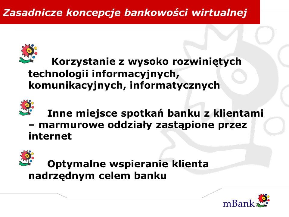Zasadnicze koncepcje bankowości wirtualnej Korzystanie z wysoko rozwiniętych technologii informacyjnych, komunikacyjnych, informatycznych Inne miejsce