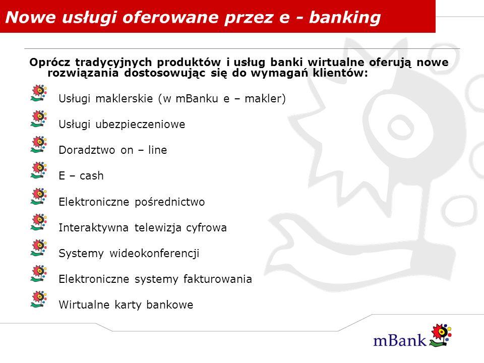 Nowe usługi oferowane przez e - banking Oprócz tradycyjnych produktów i usług banki wirtualne oferują nowe rozwiązania dostosowując się do wymagań kli