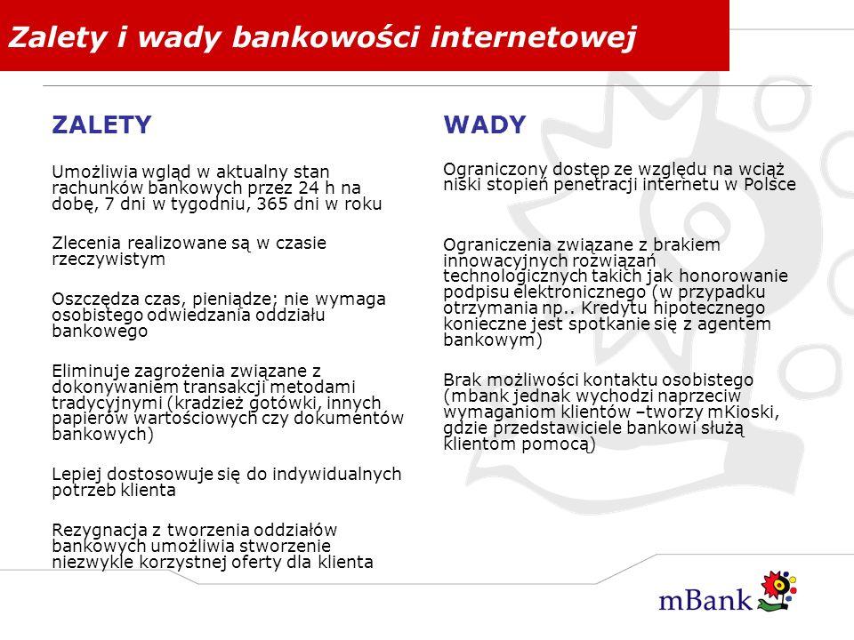 Zalety i wady bankowości internetowej ZALETY Umożliwia wgląd w aktualny stan rachunków bankowych przez 24 h na dobę, 7 dni w tygodniu, 365 dni w roku