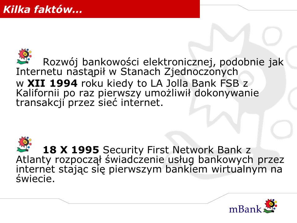 Kilka faktów… Rozwój bankowości elektronicznej, podobnie jak Internetu nastąpił w Stanach Zjednoczonych w XII 1994 roku kiedy to LA Jolla Bank FSB z K