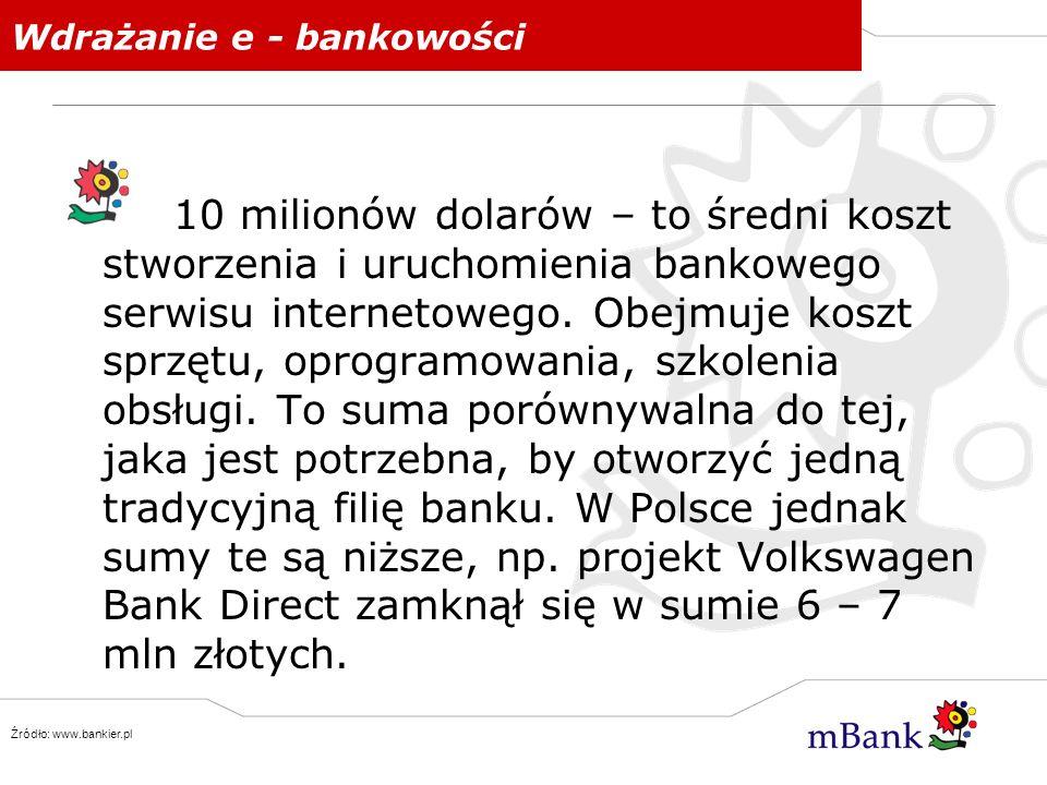 Rodzaje bankowości internetowej Banki tradycyjne dodatkowo tworzące swoje serwisy internetowe oferując usługi bankowe przez Internet Dostęp do konta przez internet jest alternatywnym kanałem dostępu Banki wirtualne, tylko i wyłącznie internetowe (w Polsce mBank, Volkswagen Bank Direct, Inteligo) Nie posiadają tradycyjnych placówek Brak bezpośredniego kontaktu klienta z bankiem Wspomagane przez serwis telefoniczny, sieć bankomatów