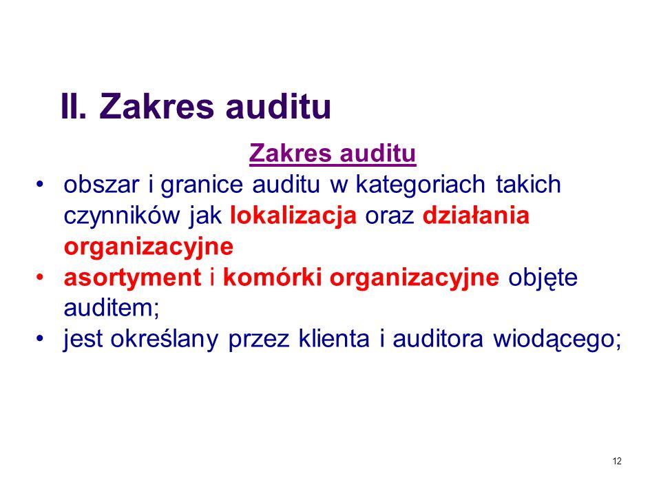 12 Zakres auditu obszar i granice auditu w kategoriach takich czynników jak lokalizacja oraz działania organizacyjne asortyment i komórki organizacyjn