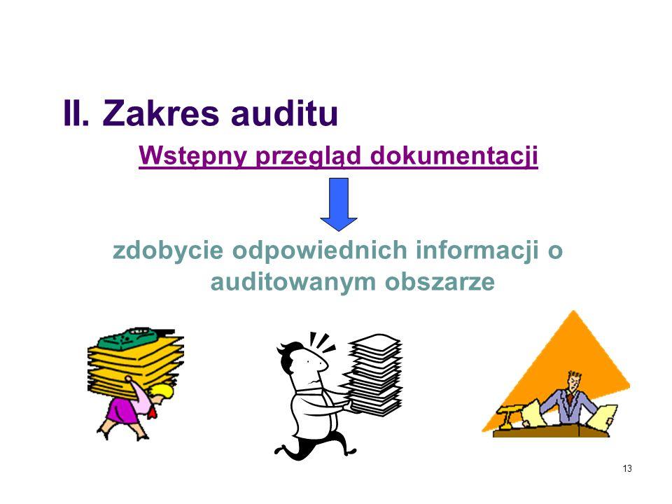 13 Wstępny przegląd dokumentacji zdobycie odpowiednich informacji o auditowanym obszarze II. Zakres auditu