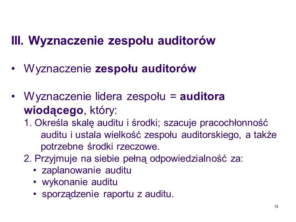 14 Wyznaczenie zespołu auditorów Wyznaczenie lidera zespołu = auditora wiodącego, który: 1. Określa skalę auditu i środki; szacuje pracochłonność audi