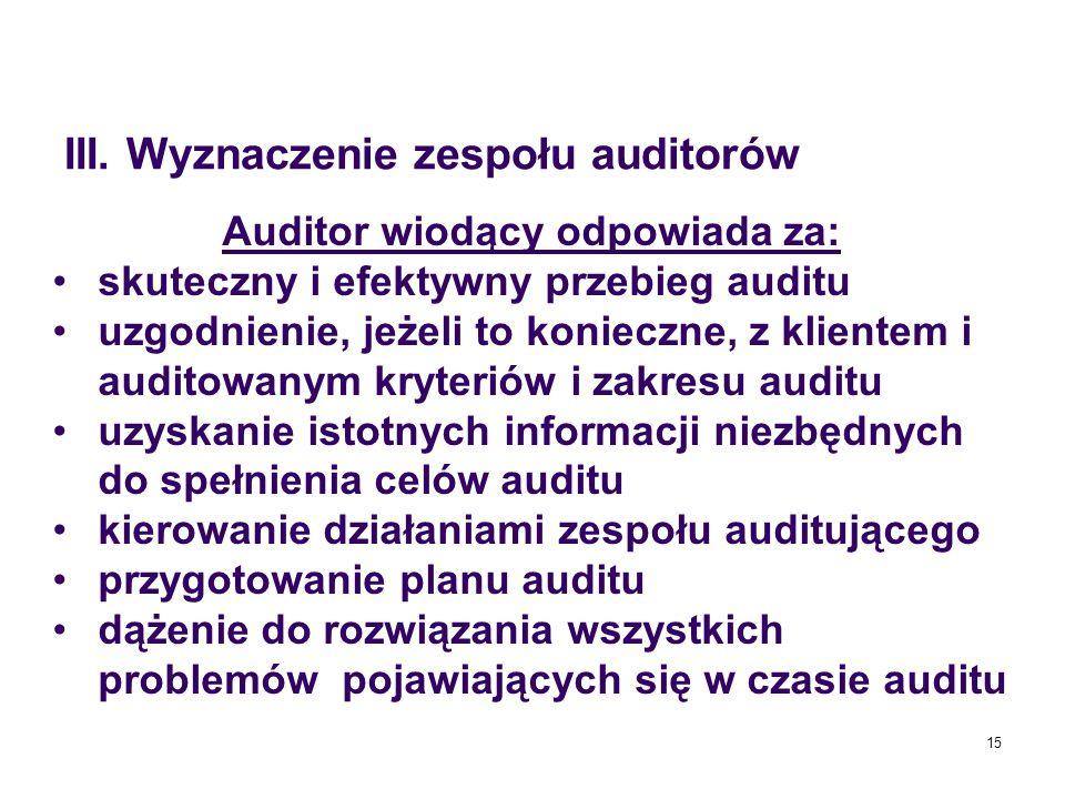 15 Auditor wiodący odpowiada za: skuteczny i efektywny przebieg auditu uzgodnienie, jeżeli to konieczne, z klientem i auditowanym kryteriów i zakresu