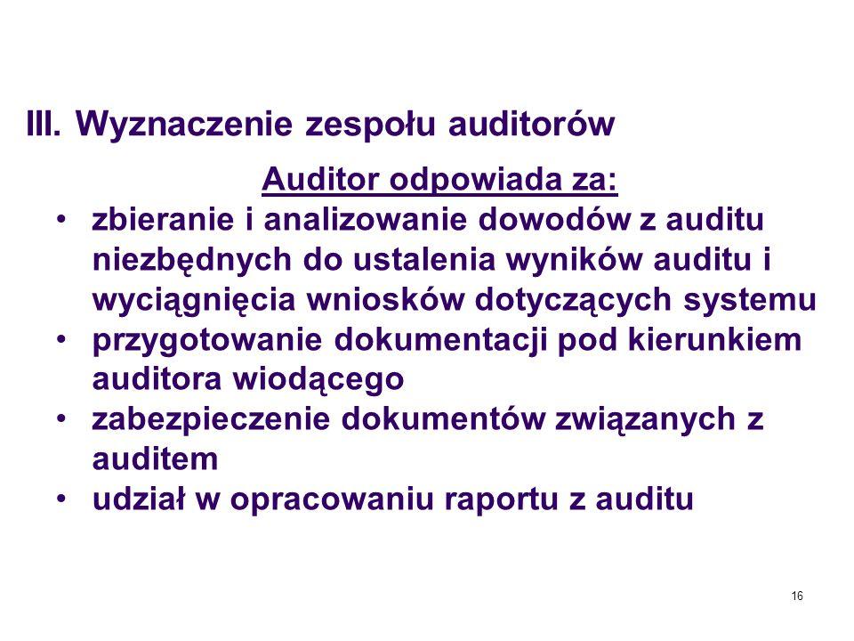 16 Auditor odpowiada za: zbieranie i analizowanie dowodów z auditu niezbędnych do ustalenia wyników auditu i wyciągnięcia wniosków dotyczących systemu