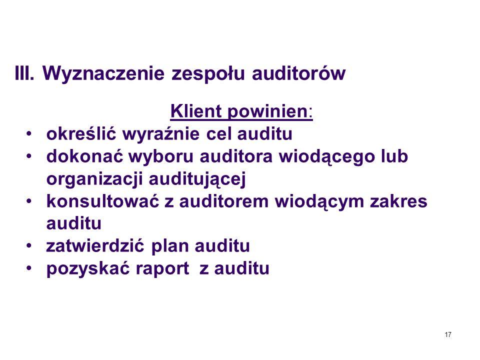 17 Klient powinien: określić wyraźnie cel auditu dokonać wyboru auditora wiodącego lub organizacji auditującej konsultować z auditorem wiodącym zakres
