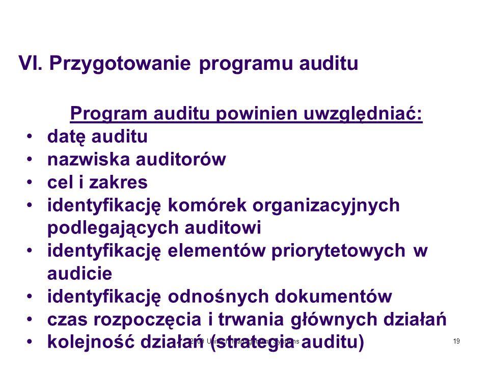 2009 Unitech Management Systems19 Program auditu powinien uwzględniać: datę auditu nazwiska auditorów cel i zakres identyfikację komórek organizacyjny