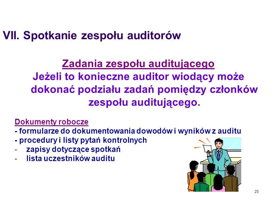 25 Zadania zespołu auditującego Jeżeli to konieczne auditor wiodący może dokonać podziału zadań pomiędzy członków zespołu auditującego. Dokumenty robo
