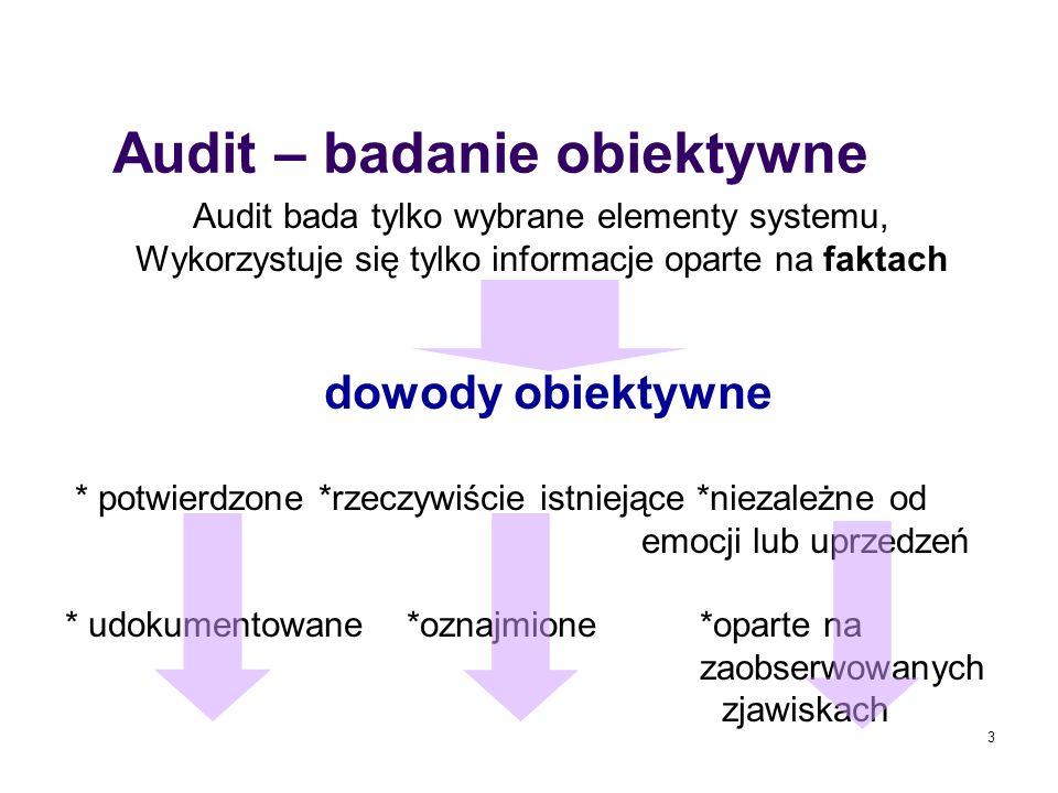 3 Audit – badanie obiektywne Audit bada tylko wybrane elementy systemu, Wykorzystuje się tylko informacje oparte na faktach dowody obiektywne * potwie