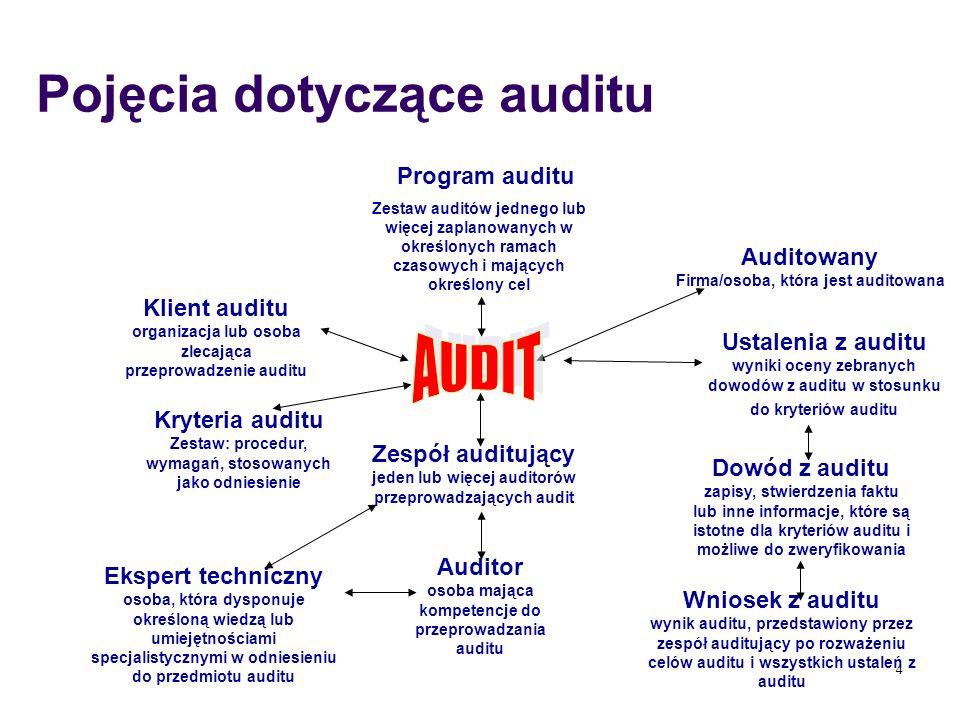 4 Program auditu Zestaw auditów jednego lub więcej zaplanowanych w określonych ramach czasowych i mających określony cel Auditowany Firma/osoba, która