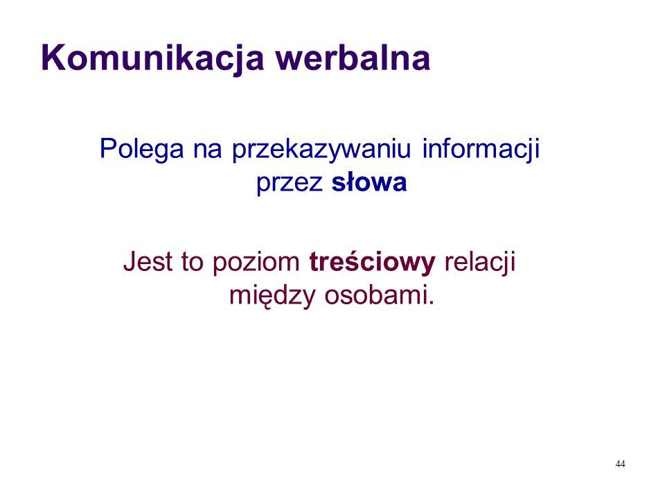 Komunikacja werbalna Polega na przekazywaniu informacji przez słowa Jest to poziom treściowy relacji między osobami. 44