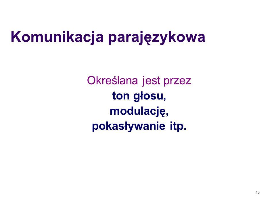 Komunikacja parajęzykowa Określana jest przez ton głosu, modulację, pokasływanie itp. 45