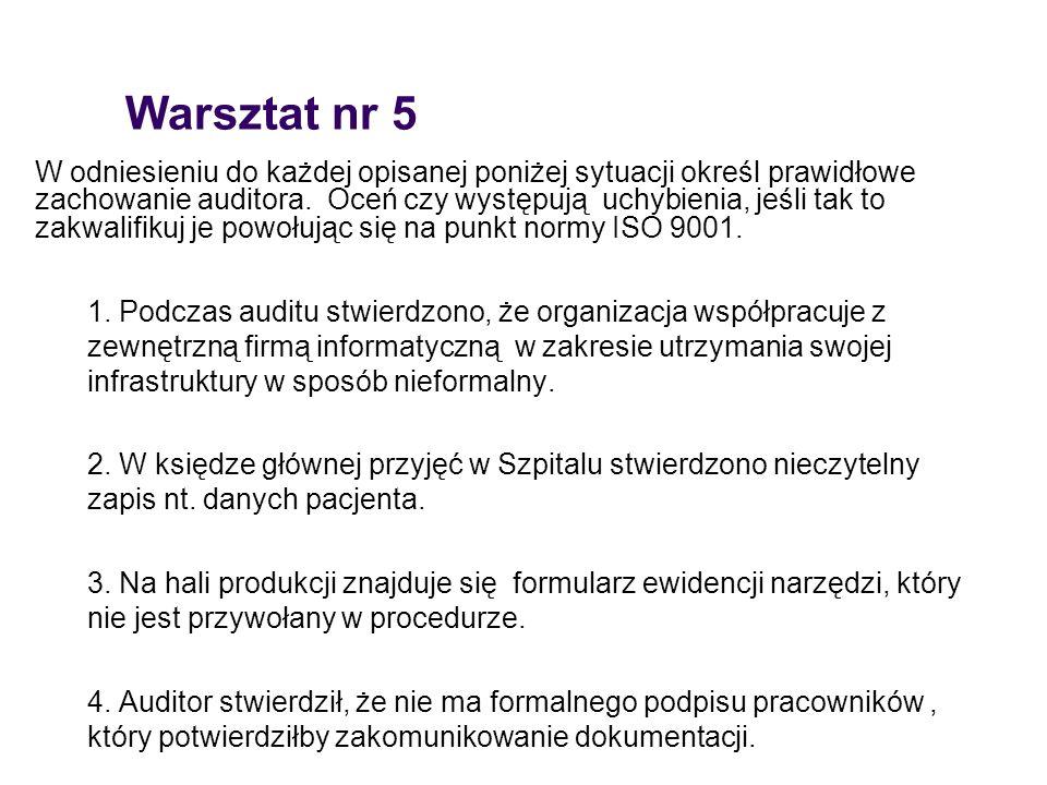 Warsztat nr 5 W odniesieniu do każdej opisanej poniżej sytuacji określ prawidłowe zachowanie auditora. Oceń czy występują uchybienia, jeśli tak to zak