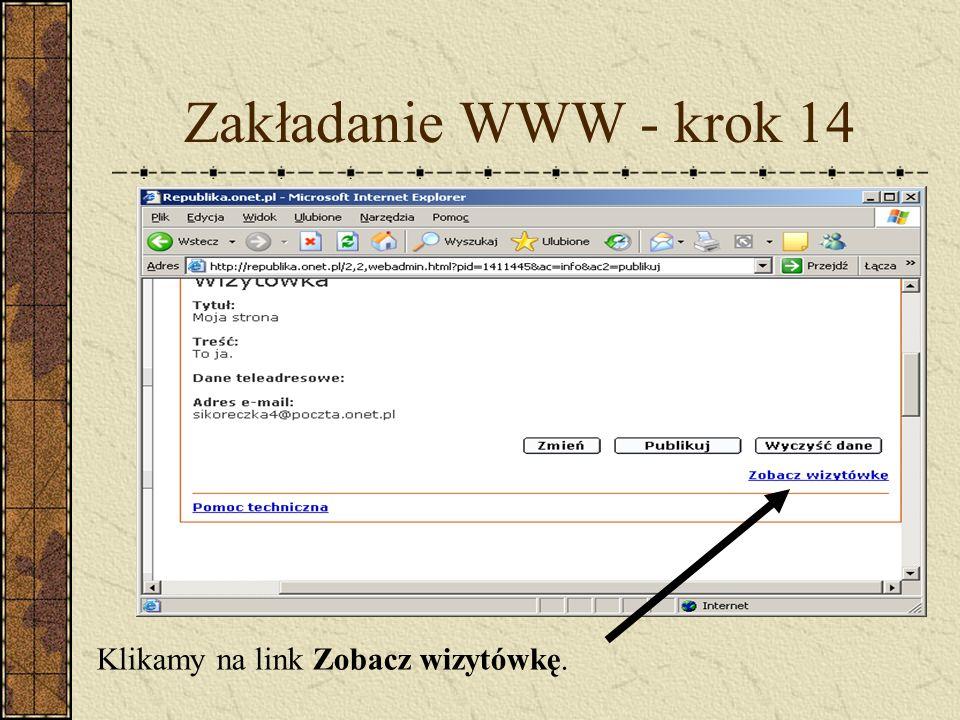 Zakładanie WWW - krok 14 Klikamy na link Zobacz wizytówkę.