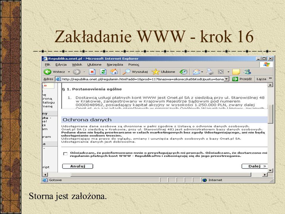 Zakładanie WWW - krok 16 Storna jest założona.