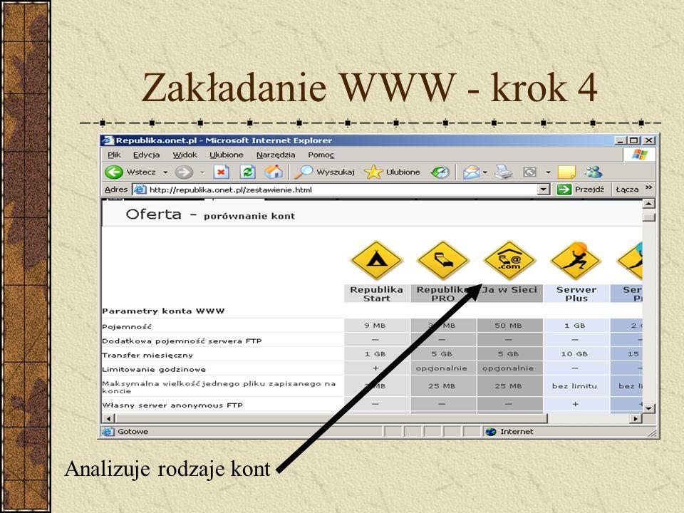 Zakładanie WWW - krok 4 Analizuje rodzaje kont