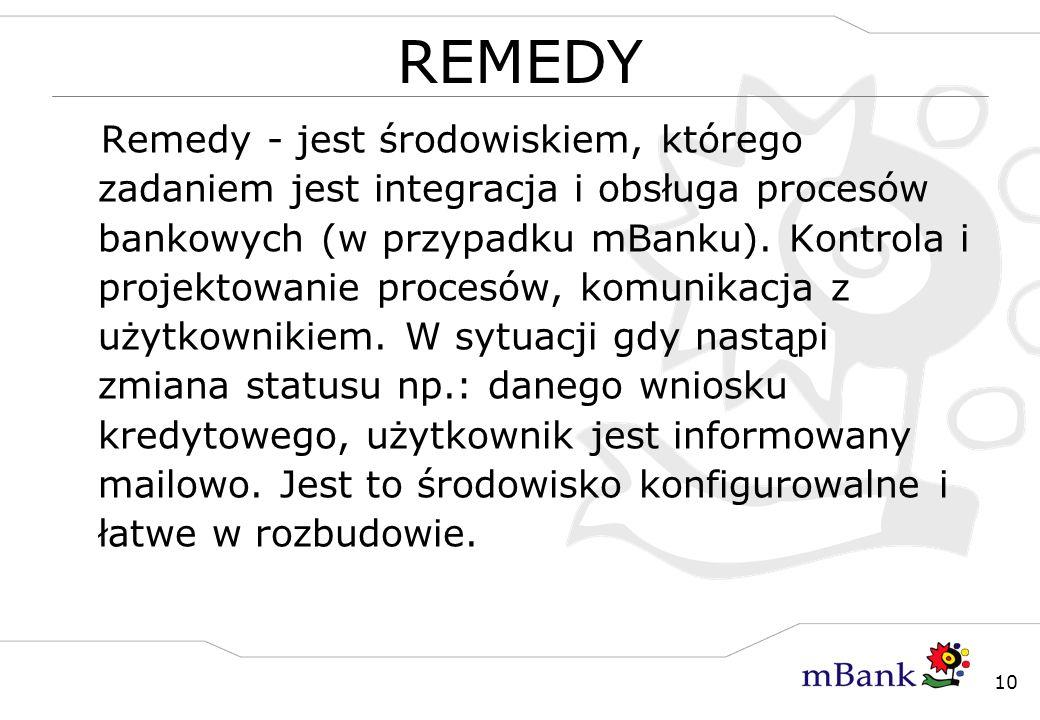 10 REMEDY Remedy - jest środowiskiem, którego zadaniem jest integracja i obsługa procesów bankowych (w przypadku mBanku). Kontrola i projektowanie pro