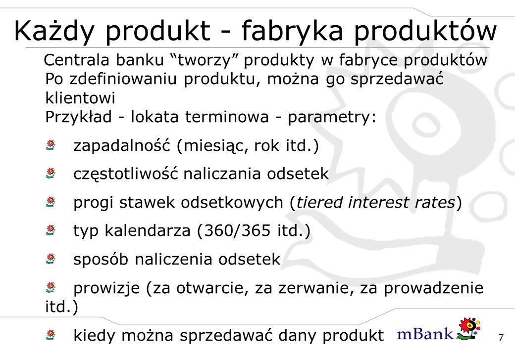 7 Każdy produkt - fabryka produktów Centrala banku tworzy produkty w fabryce produktów Po zdefiniowaniu produktu, można go sprzedawać klientowi Przykł
