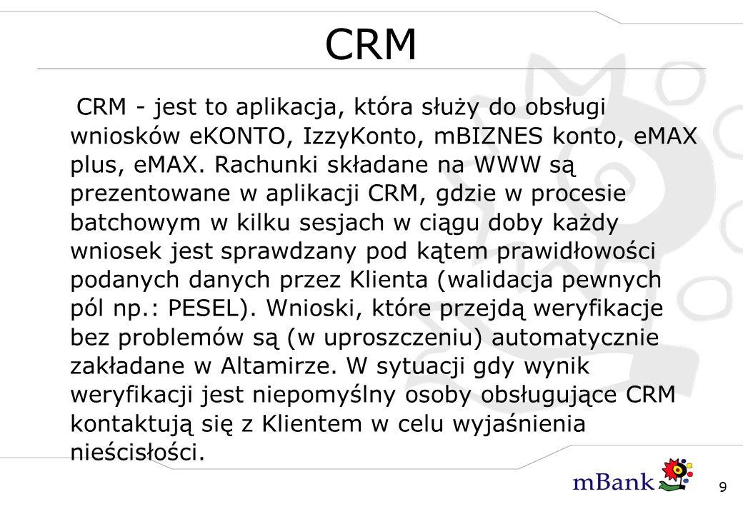 9 CRM CRM - jest to aplikacja, która służy do obsługi wniosków eKONTO, IzzyKonto, mBIZNES konto, eMAX plus, eMAX. Rachunki składane na WWW są prezento
