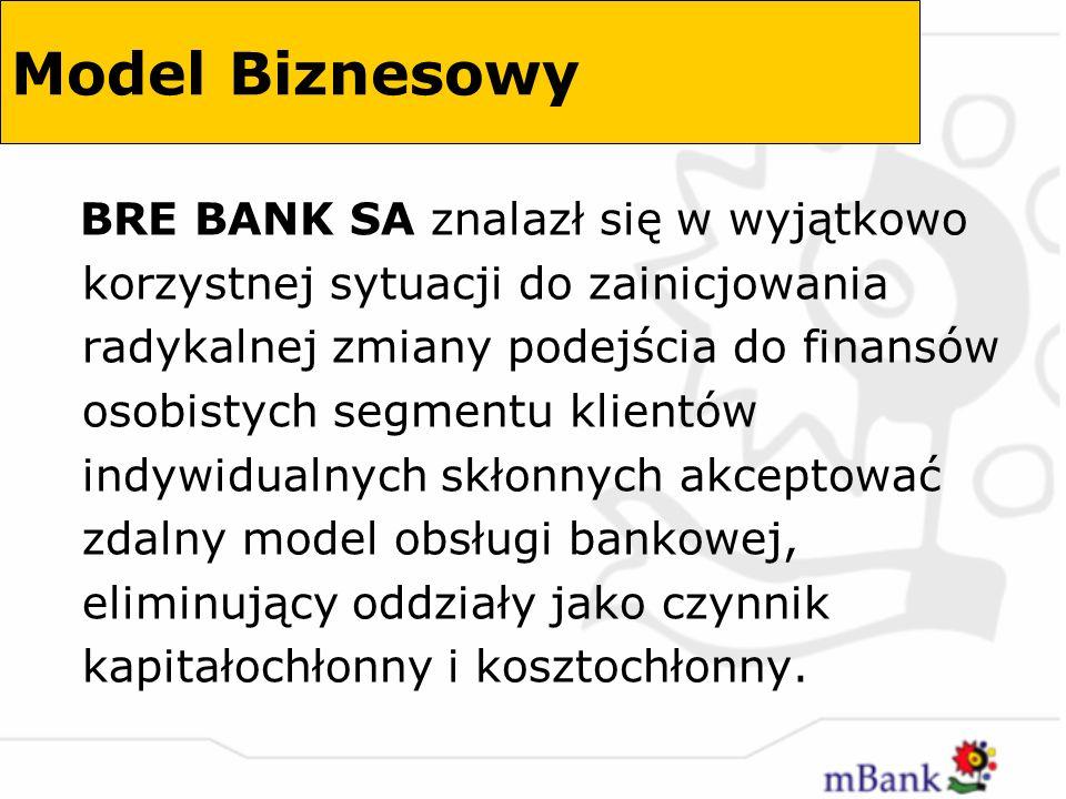 Nowy model biznesowy bankowości detalicznej wprowadzony na polski rynek po raz pierwszy przez BRE BANK SA za pośrednictwem mBank charakteryzuje się: dyskontowym systemem cen w odniesieniu do oprocentowania oraz prowizji i opłat pobieranych za czynności bankowe brakiem oddziałów i dostępnością za pośrednictwem zdalnych kanałów dystrybucji – telefon stacjonarny, telefon komórkowy (SMS, WAP), internet PC, bankomat, karta debetowa wdrożeniem ultranowoczesnej technologii informacyjnej umożliwiającej działalność w czasie rzeczywistym Model Biznesowy