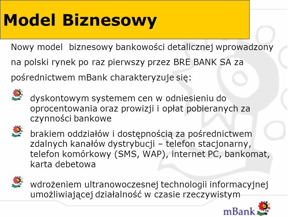 Poza czynnikami rynkowymi, realizacja projektu mBank wykorzystuje synergię wewnętrzną w BRE Banku: koszty realizacji od strony informatyki i infrastruktury technicznej są kosztami krańcowymi nakładów poniesionych w projekcie BRE7 i ponoszonych w projekcie MultiBank depozyty zebrane za pośrednictwem mBank obniżają koszty pozyskania pasywów złotowych i wzmocnią bazę depozytową BRE Banku Model Biznesowy