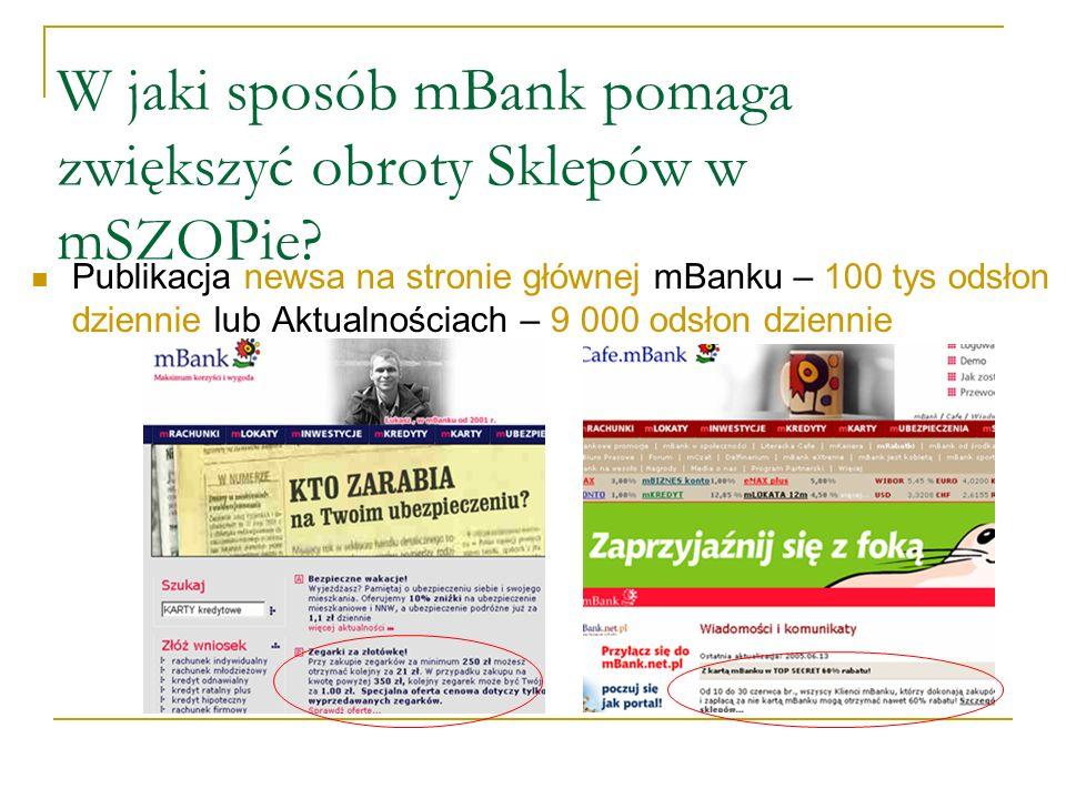 Publikacja newsa na stronie głównej mBanku – 100 tys odsłon dziennie lub Aktualnościach – 9 000 odsłon dziennie W jaki sposób mBank pomaga zwiększyć obroty Sklepów w mSZOPie