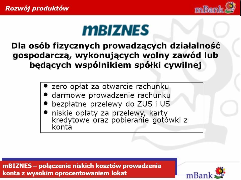 mBIZNES – połączenie niskich kosztów prowadzenia konta z wysokim oprocentowaniem lokat Dla osób fizycznych prowadzących działalność gospodarczą, wykon