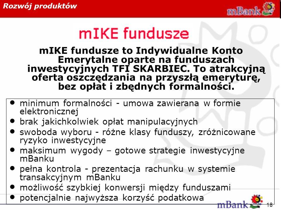 18 Rozwój produktów mIKE fundusze to Indywidualne Konto Emerytalne oparte na funduszach inwestycyjnych TFI SKARBIEC. To atrakcyjną oferta oszczędzania