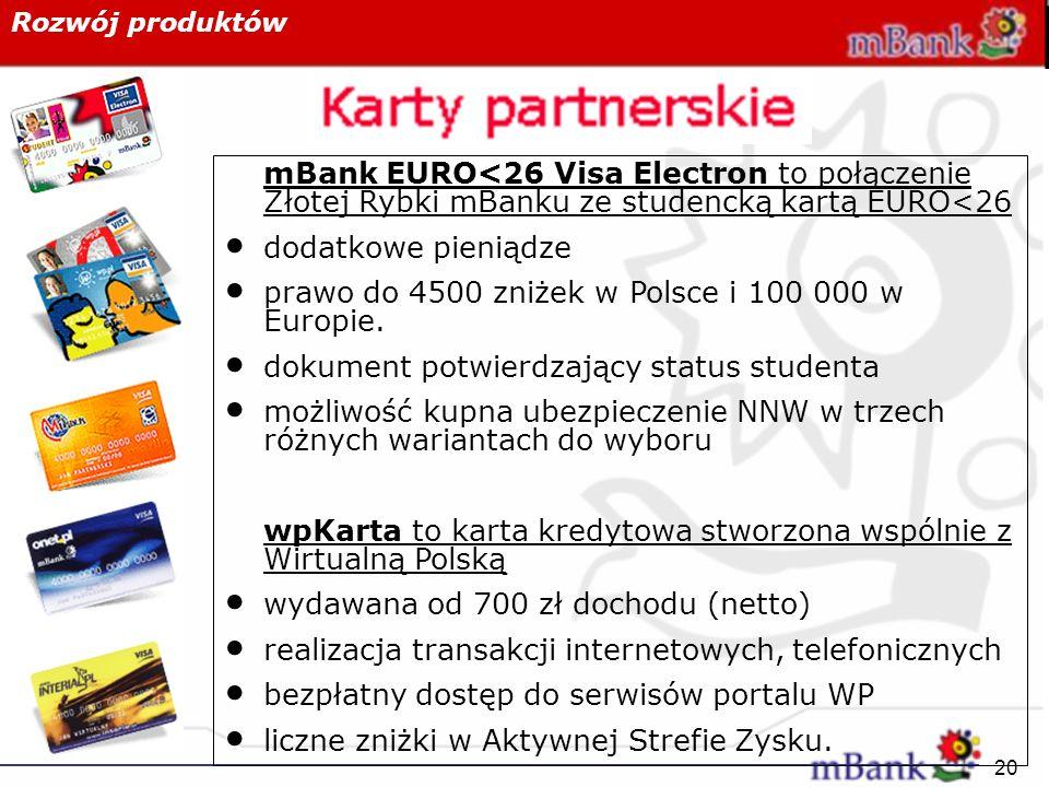 20 Rozwój produktów mBank EURO<26 Visa Electron to połączenie Złotej Rybki mBanku ze studencką kartą EURO<26 dodatkowe pieniądze prawo do 4500 zniżek