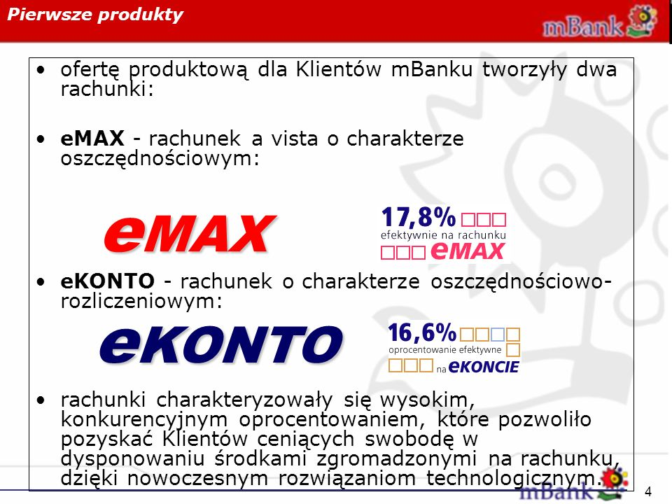 4 Pierwsze produkty ofertę produktową dla Klientów mBanku tworzyły dwa rachunki: eMAX - rachunek a vista o charakterze oszczędnościowym: eKONTO - rach