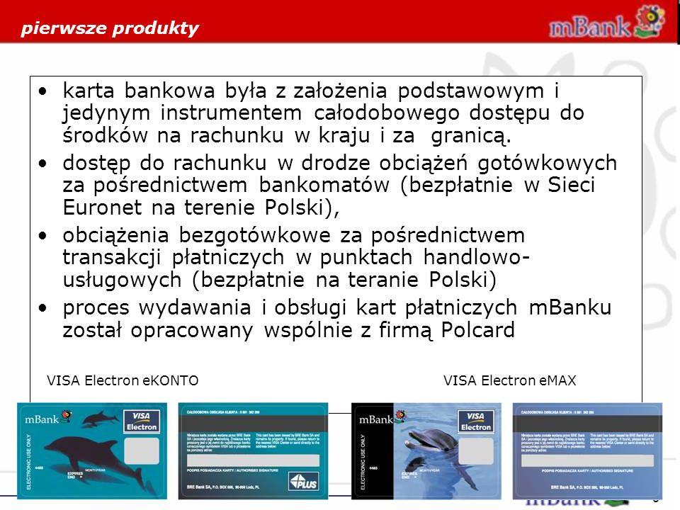 9 pierwsze produkty karta bankowa była z założenia podstawowym i jedynym instrumentem całodobowego dostępu do środków na rachunku w kraju i za granicą