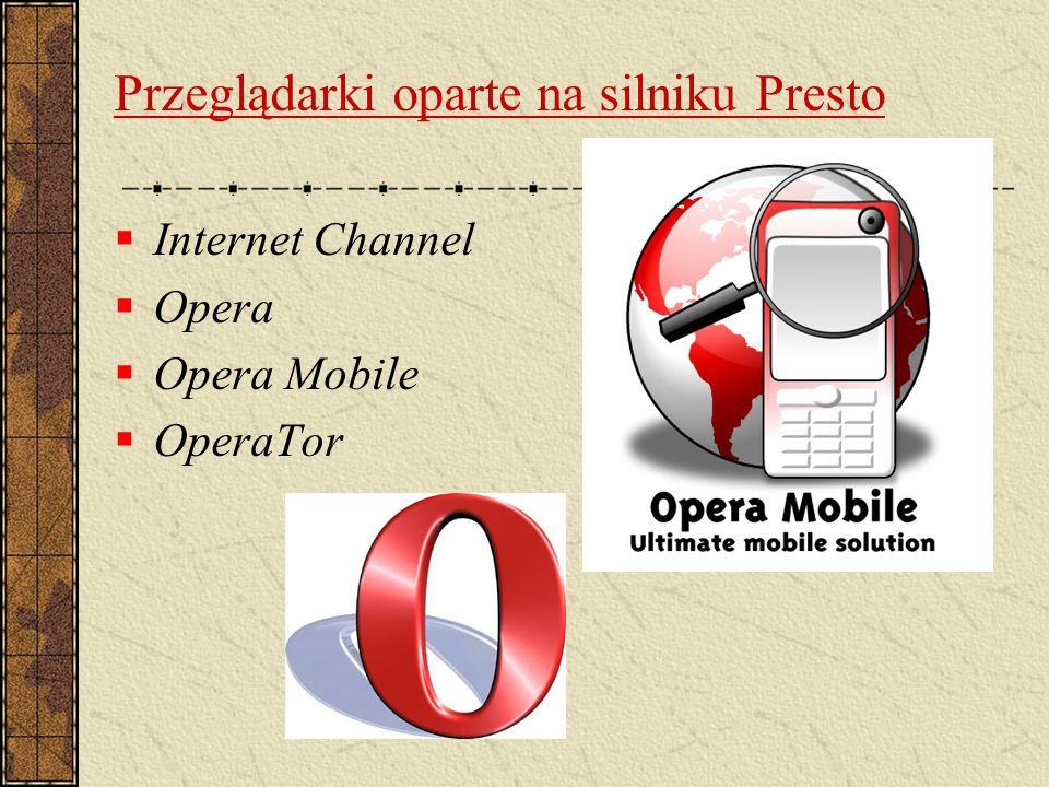 Przeglądarki oparte na silniku Presto Internet Channel Opera Opera Mobile OperaTor